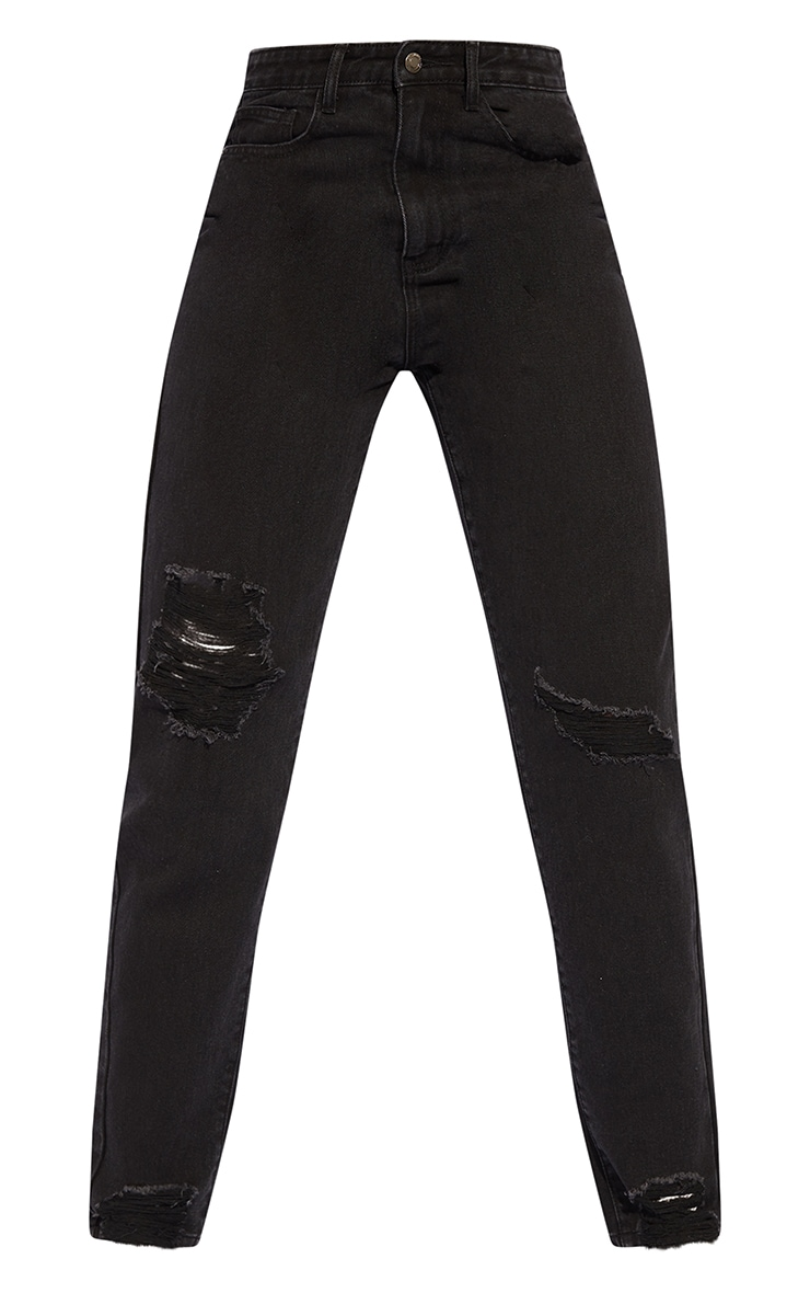 PRETTYLITTLETHING Tall Black Extreme Distressed Hem Knee Rip Mom Jean 5