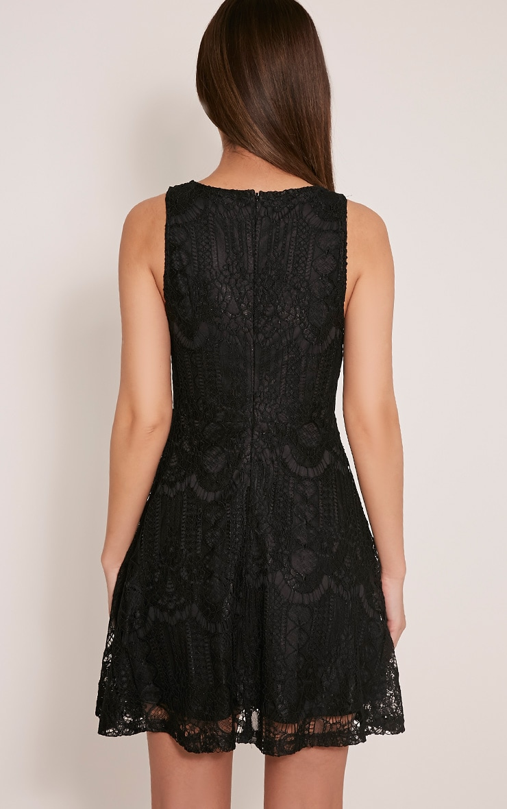 Erlisa Black Plunge Lace Skater Dress 2