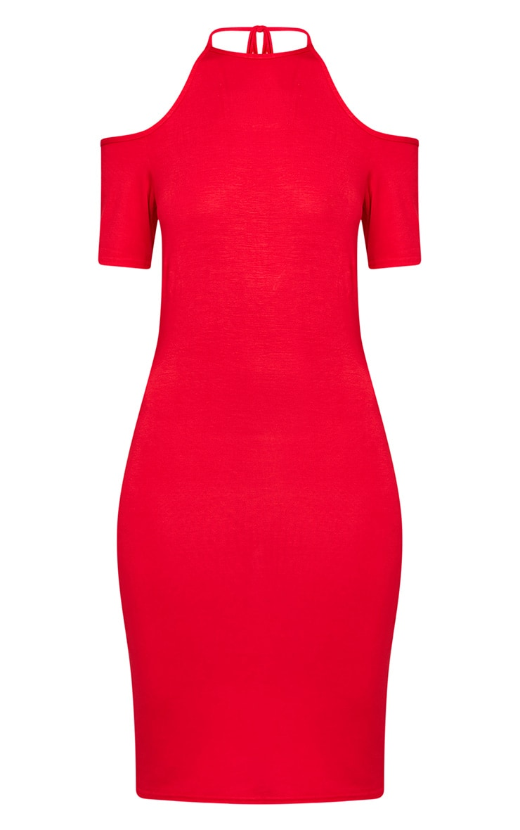 Amara Red Tie Neck Cold Shoulder Bodycon Dress 3