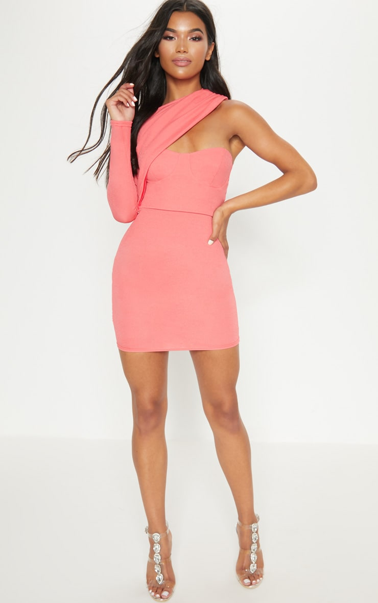 Coral One Shoulder Detail Bodycon Dress 4