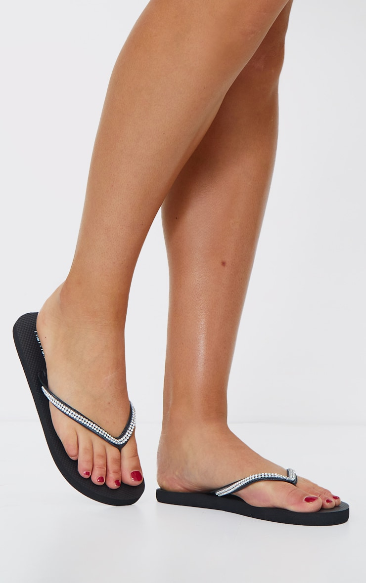Black Diamante Toe Thong Flip Flop 1