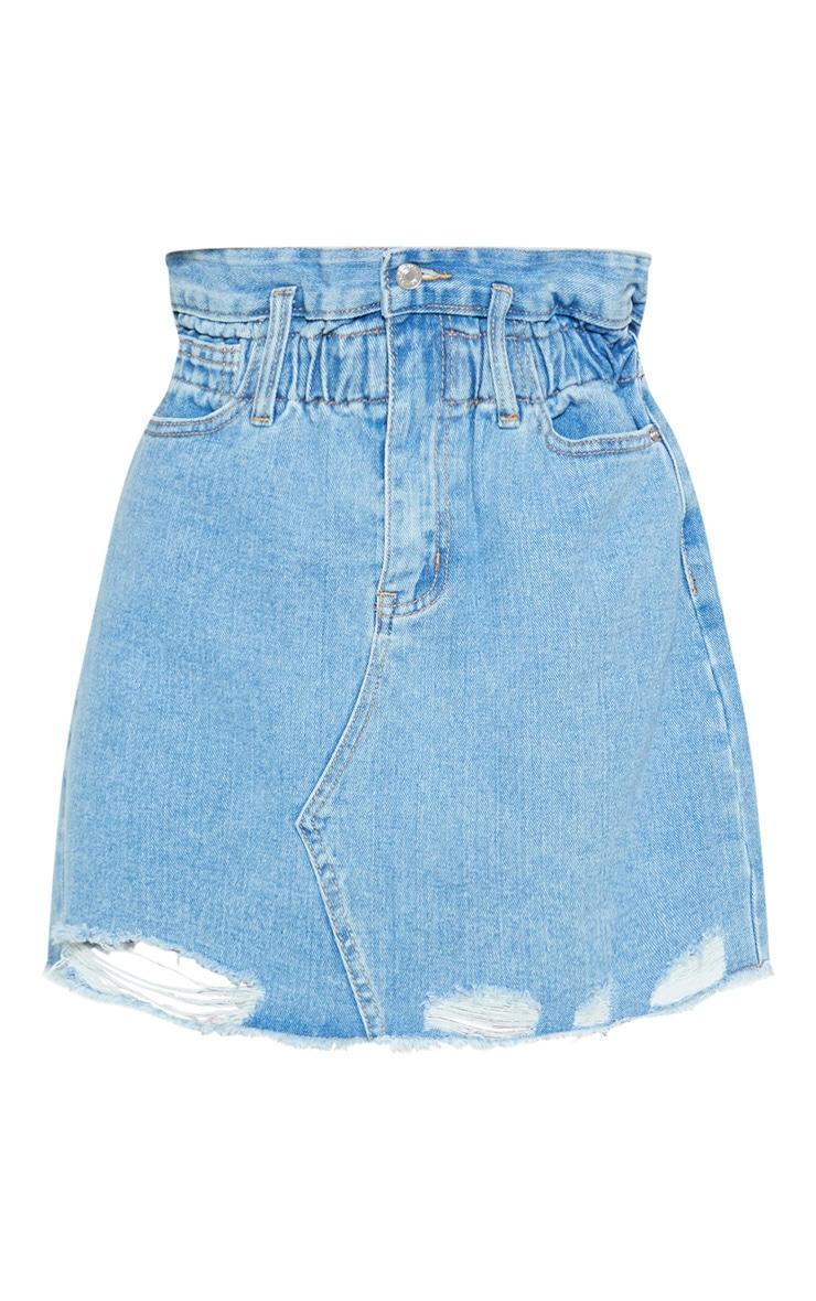 Light Wash Elastic Waist Paperbag Denim Skirt 3