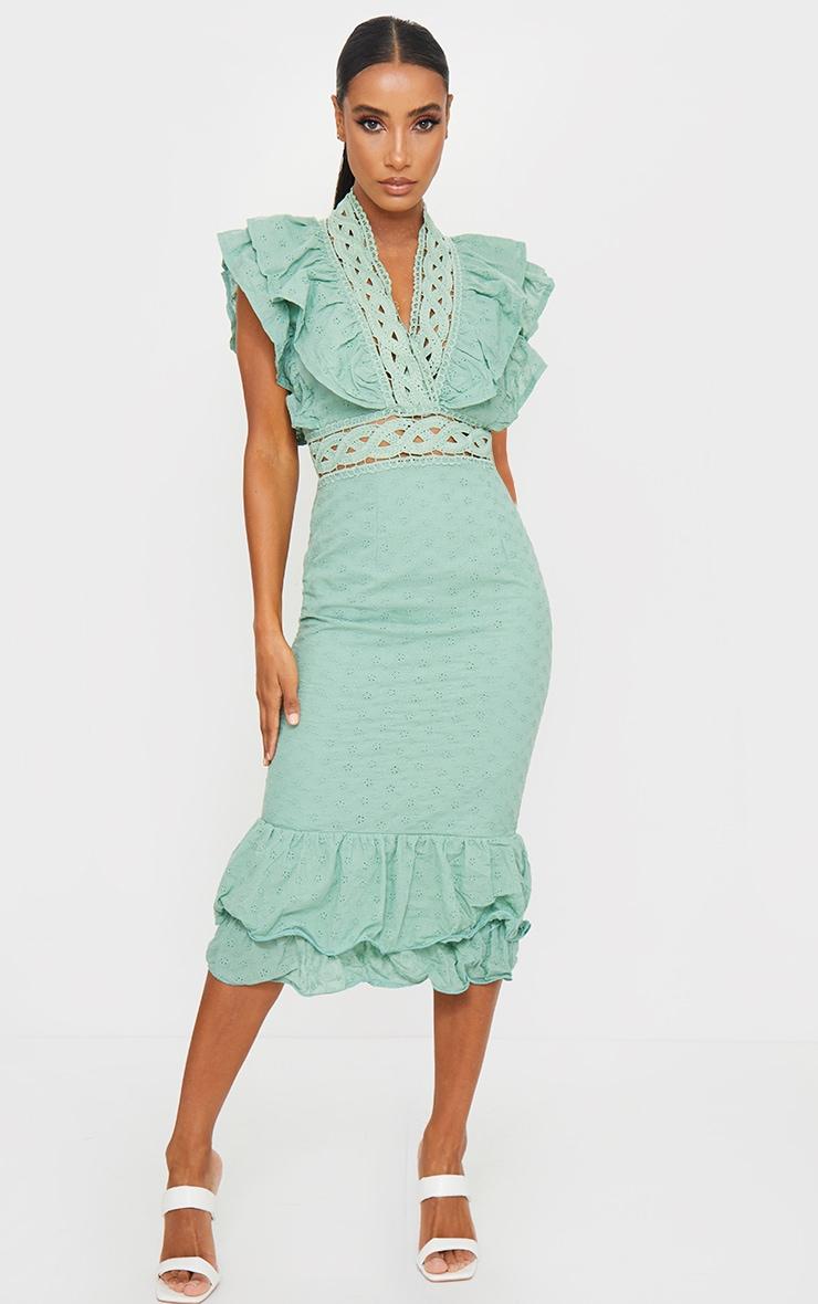 Sage Green Broderie Anglaise Trim Detail Midi Dress 1