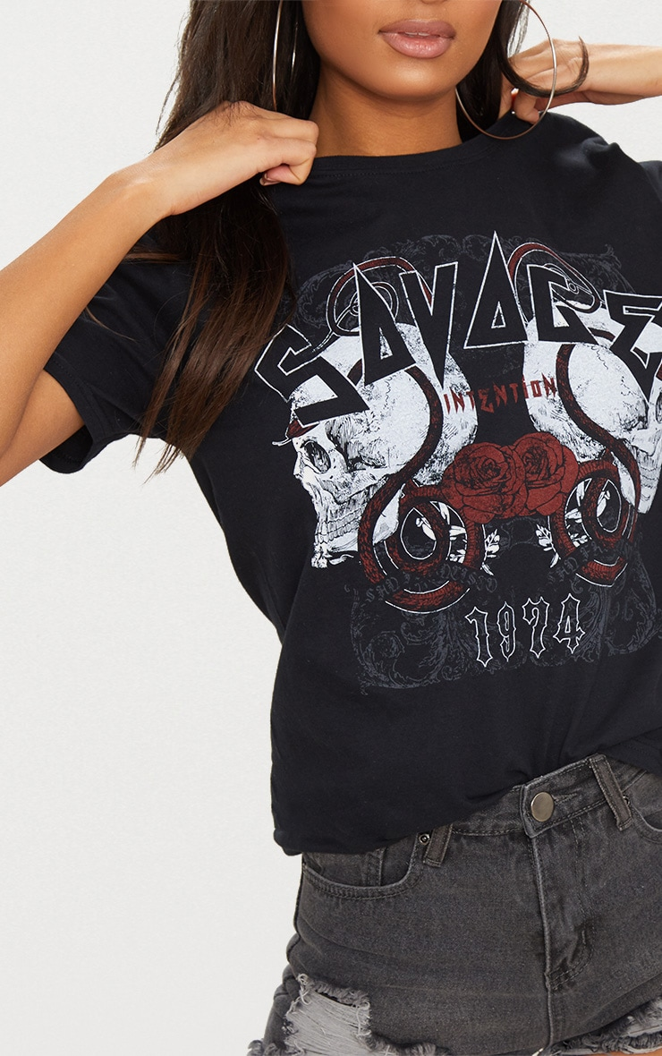 Black Savage Slogan Rock T Shirt 4