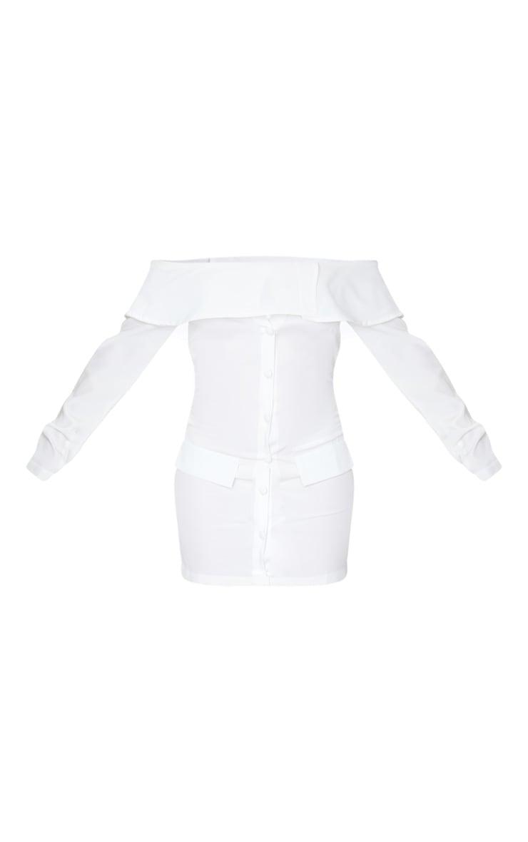 Robe moulante blanche style blazer à col bateau 5