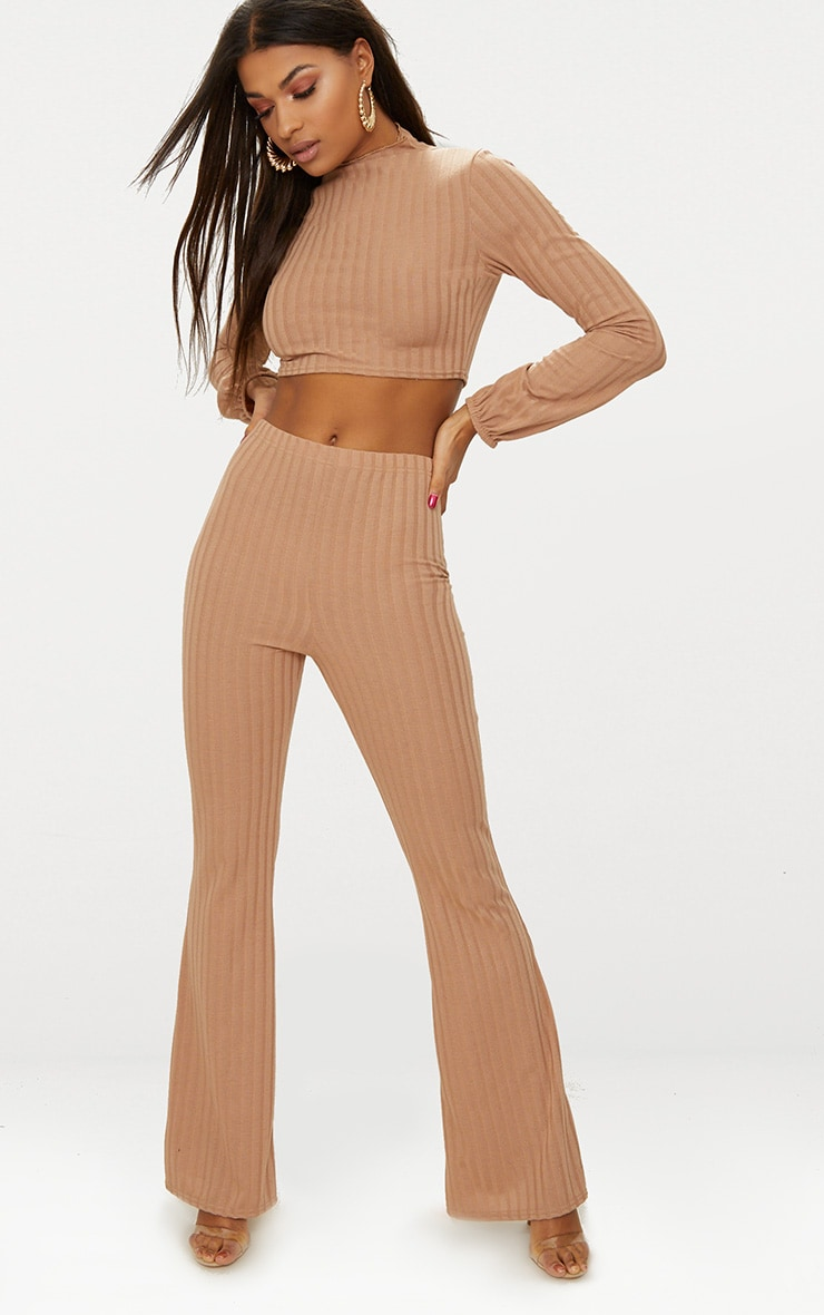 Camel Rib Knit Wide Leg Co Ord Set 1