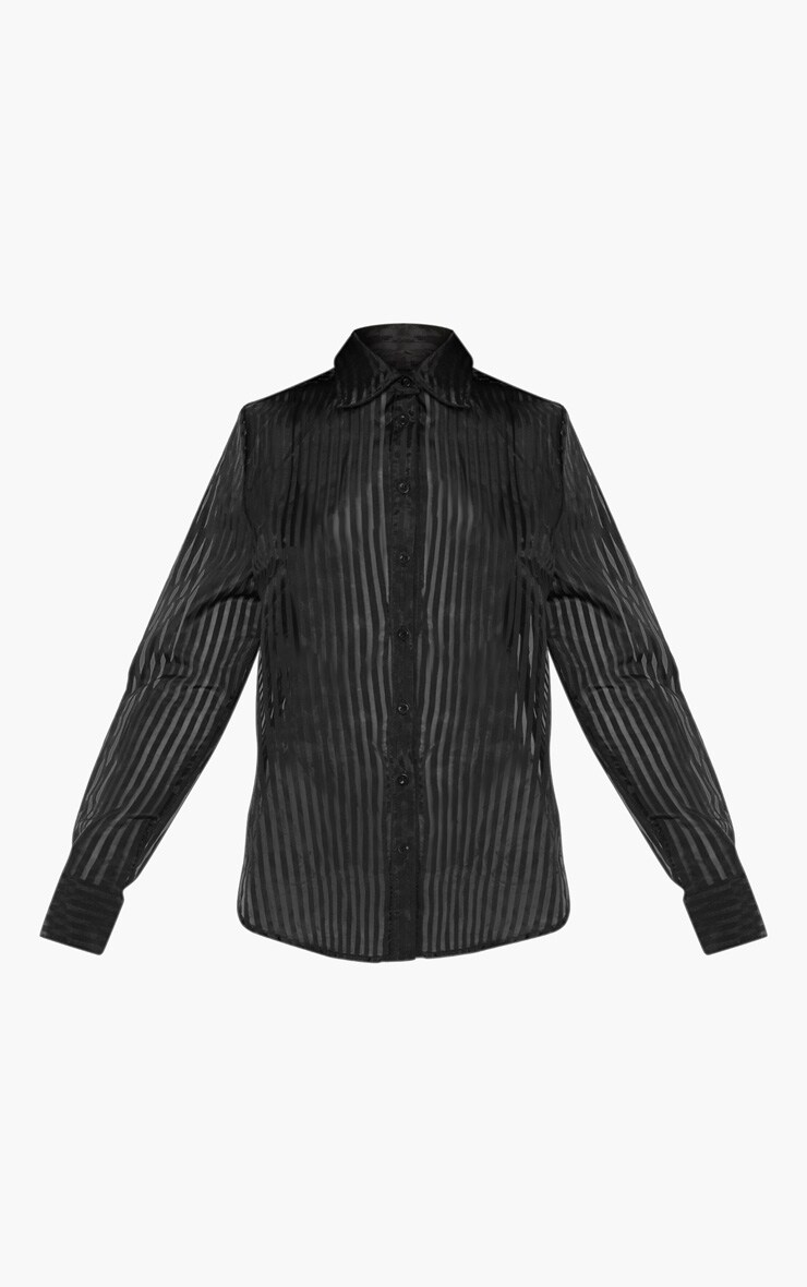 Black Stripe Sheer Shirt 3