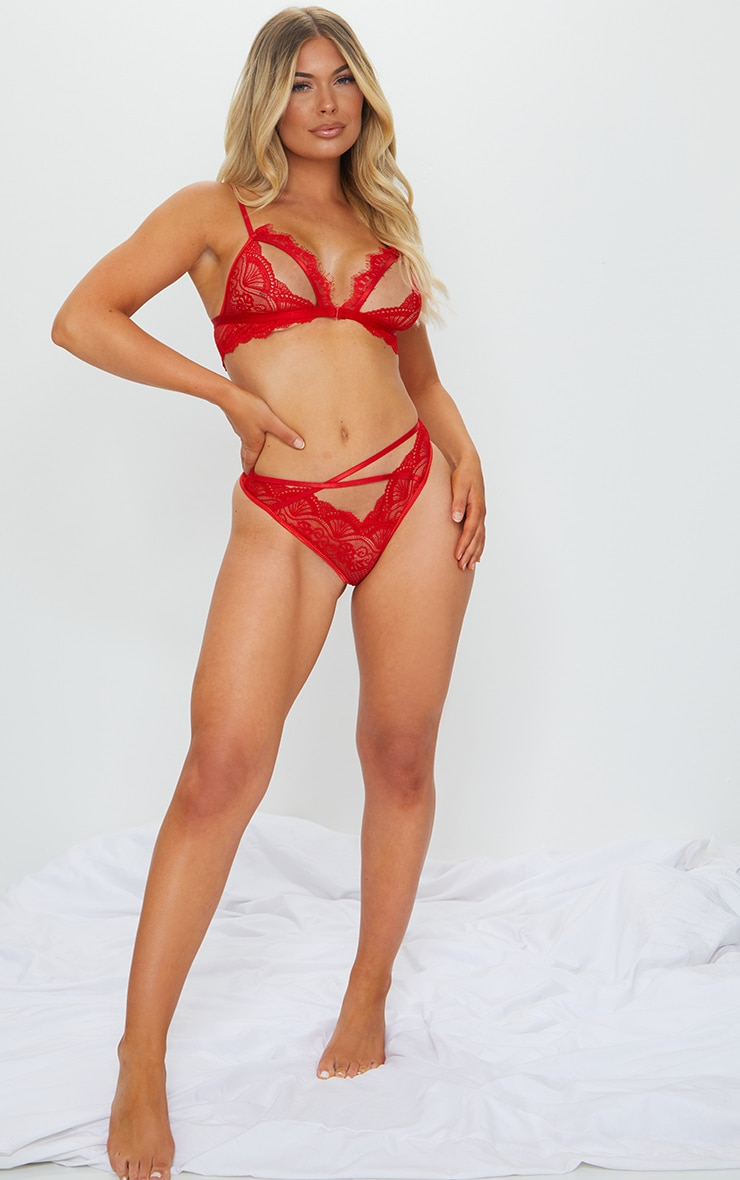 Red Floral Lace Cut Out Bra And Knicker Set 3