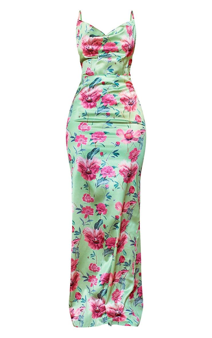 Green Floral Print Satin Cowl Neck Maxi Dress 5