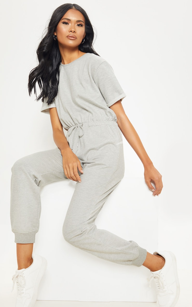 Grey Short Sleeve Sweat Jumpsuit  1