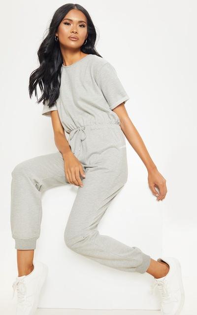 Grey Short Sleeve Sweat Jumpsuit