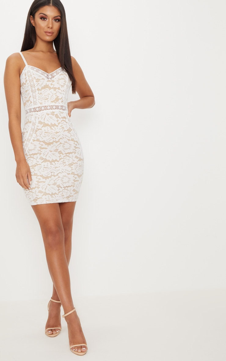White Strappy Lace Contrast Bodycon Dress 1