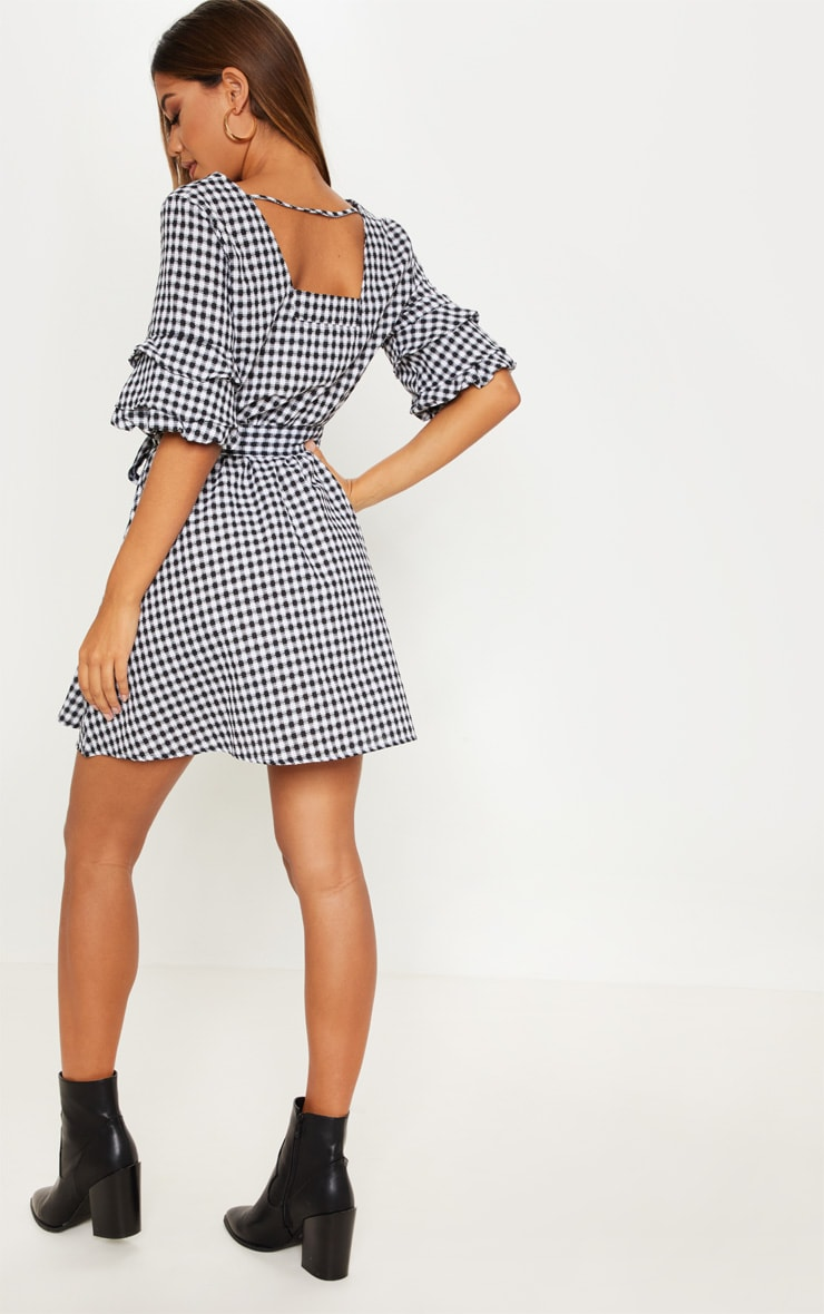Black Gingham Tie Waist Tea Dress 2