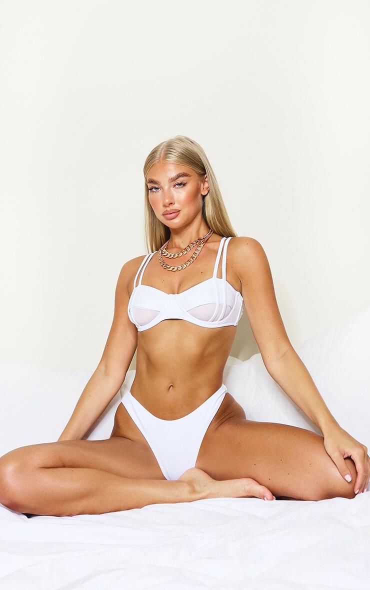 White Underwired Mesh Cut Out Bikini Top 3