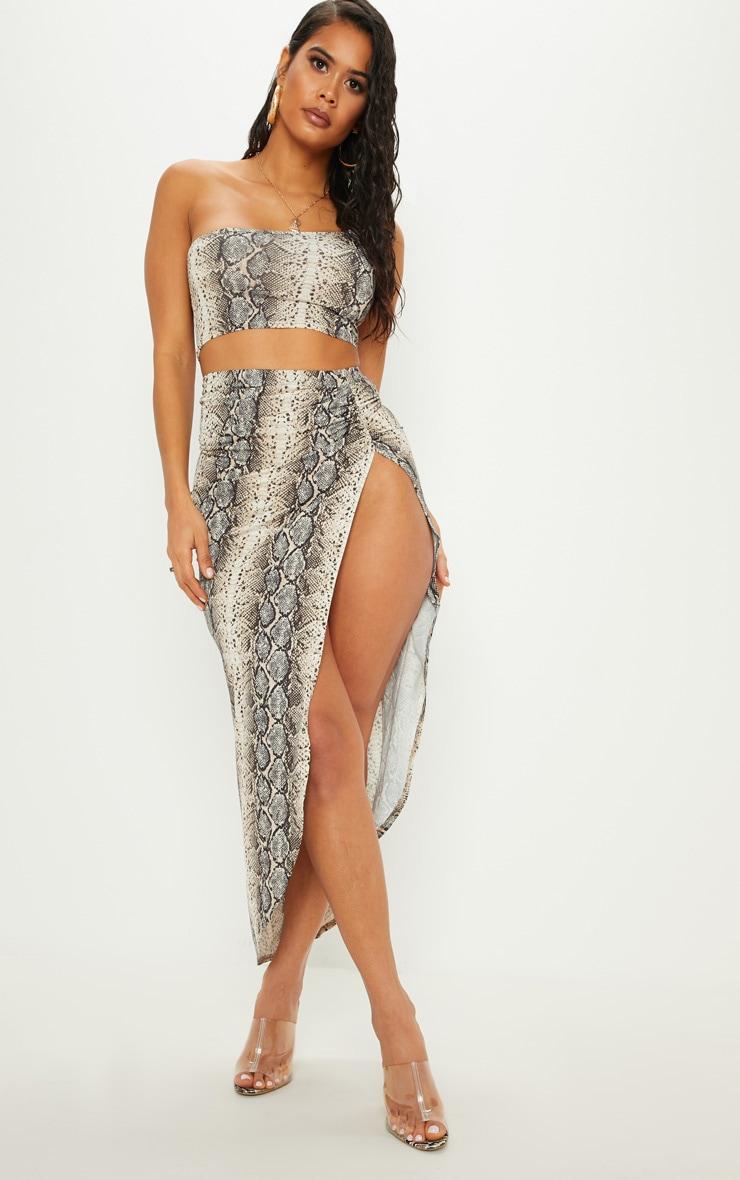 Stone Snake Print Ruched Side Split Maxi Skirt 1