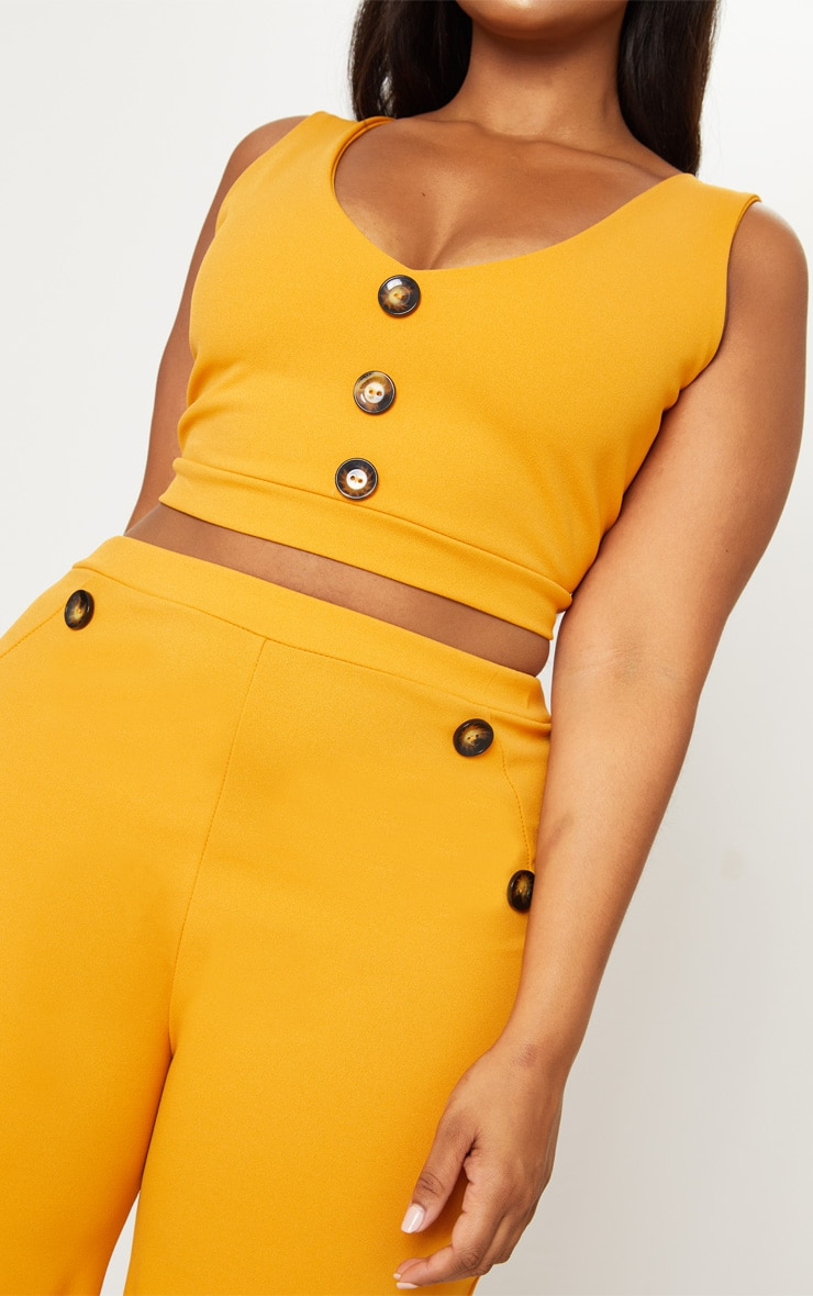 Plus Mustard Tortoise Button Detail Crop Top 5