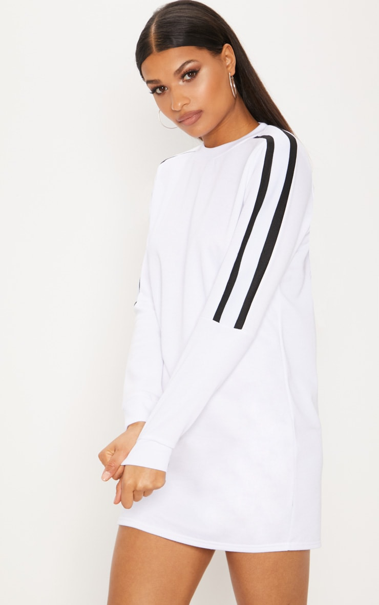 White Sport Stripe Long Sleeve Jumper Dress 1