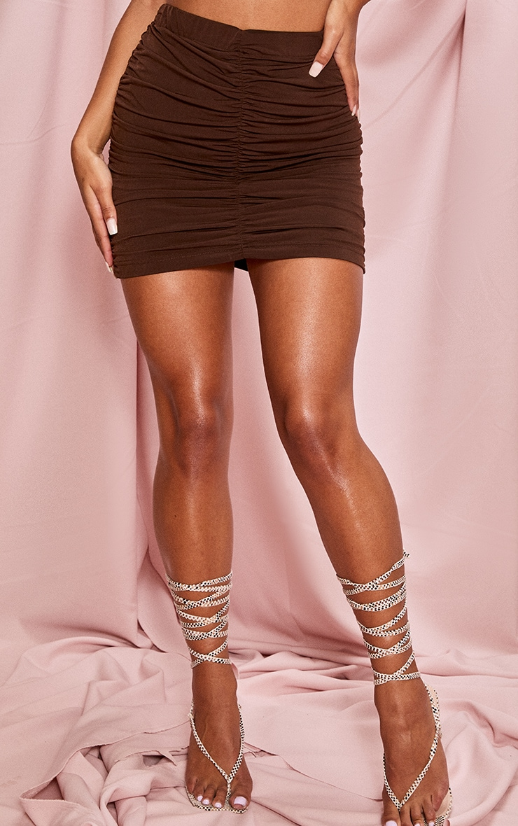 Chocolate Brown Slinky Double Ruched Seam Mini Skirt 2