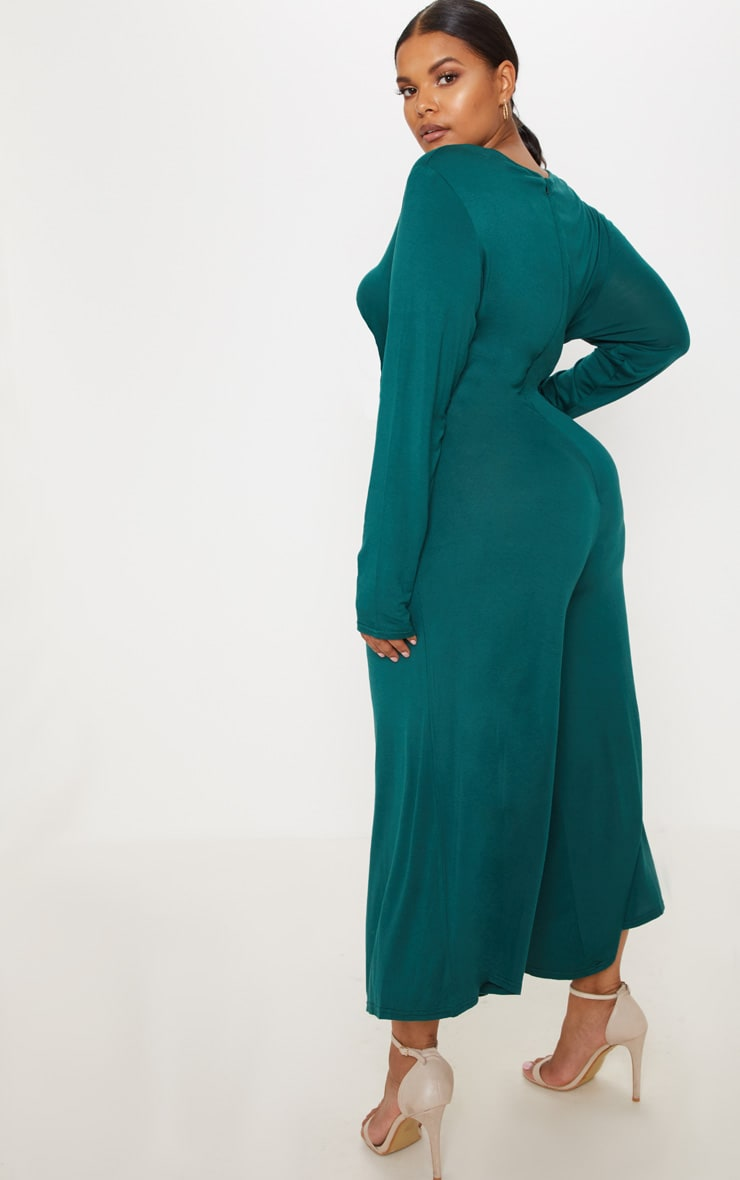 Plus Emerald Green Twist Front Culotte Jumpsuit 2