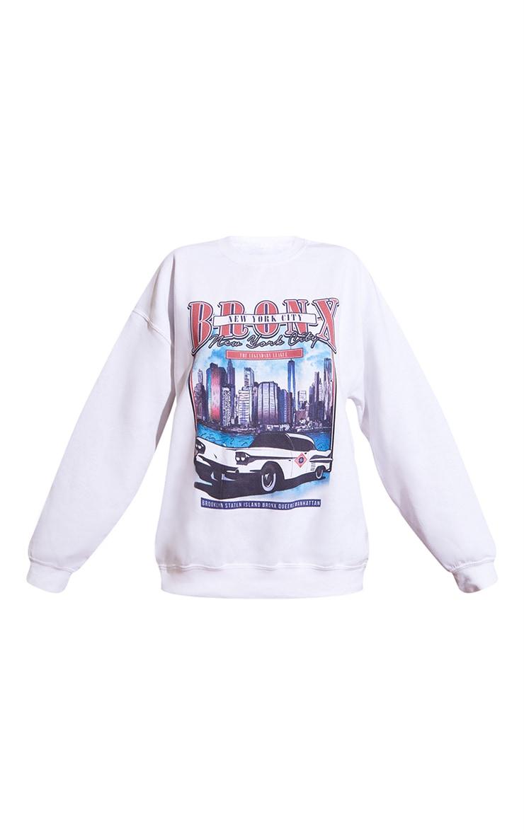 White Vintage Police Print Oversized Sweatshirt 5