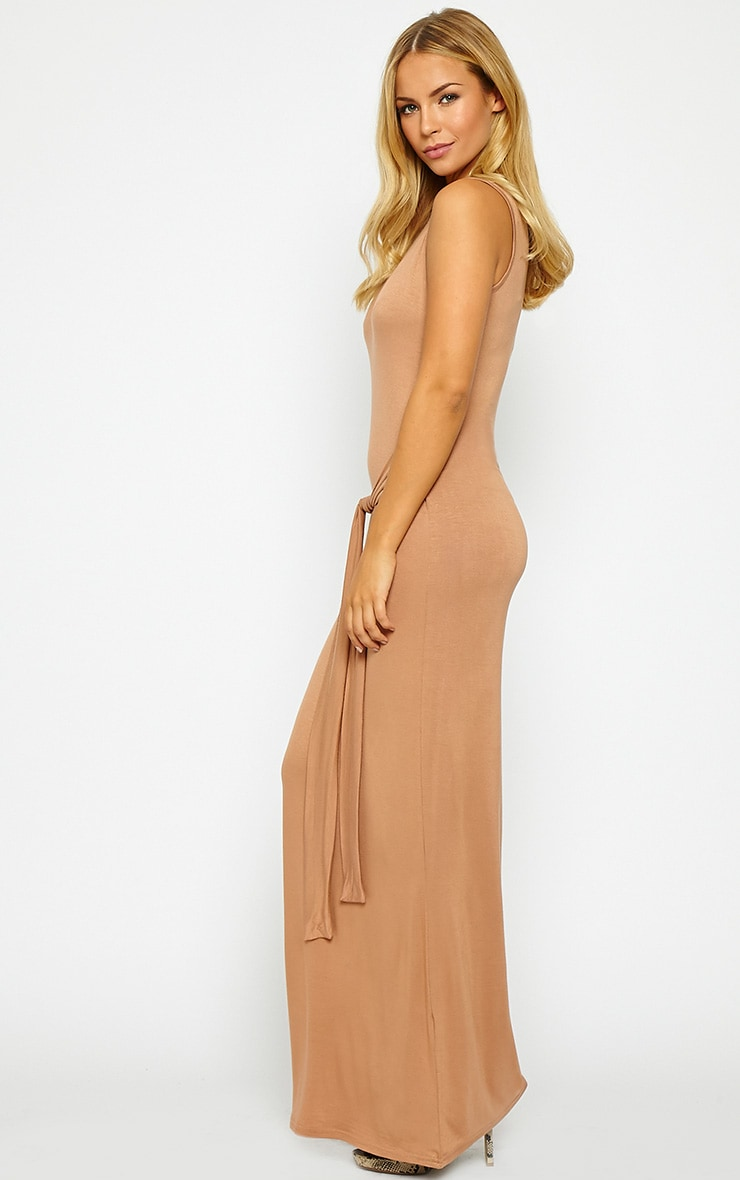 Annie Camel Tie Front Maxi Dress 4