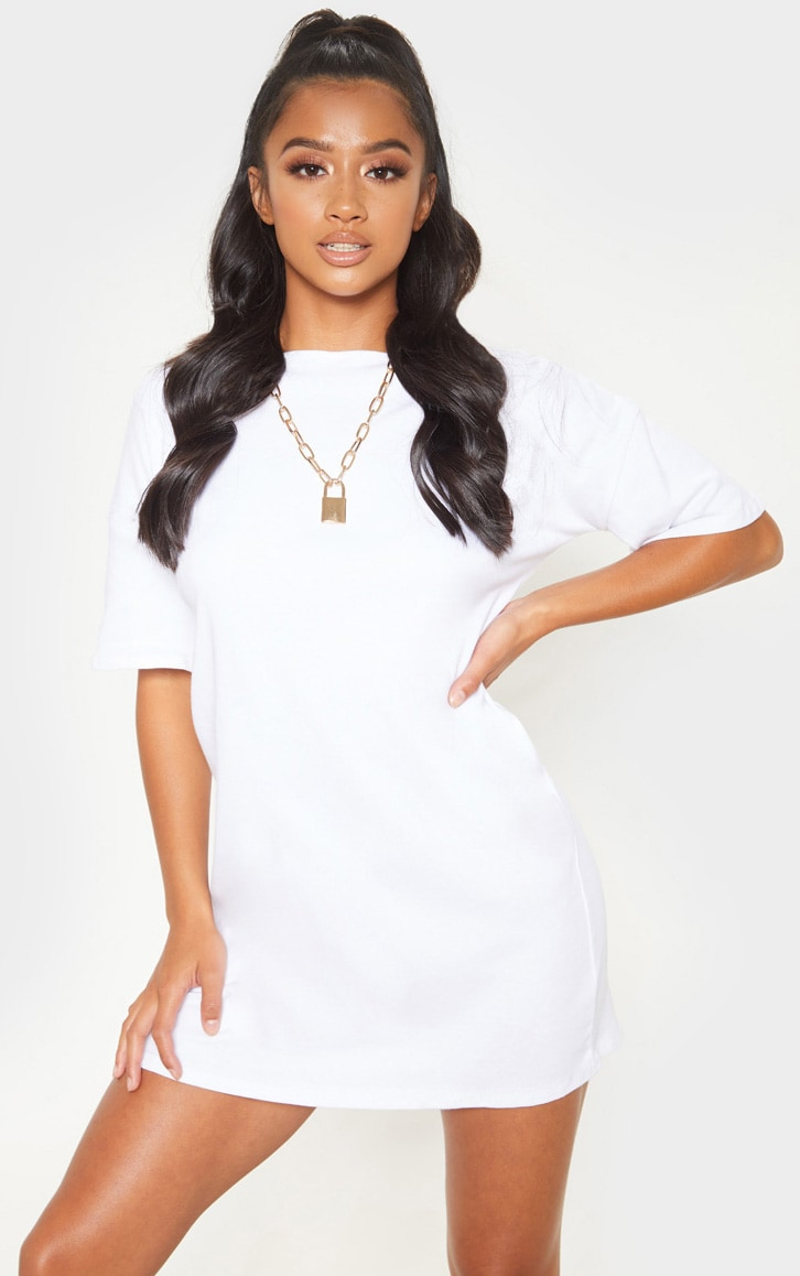 Petite White Oversized T Shirt Dress 1