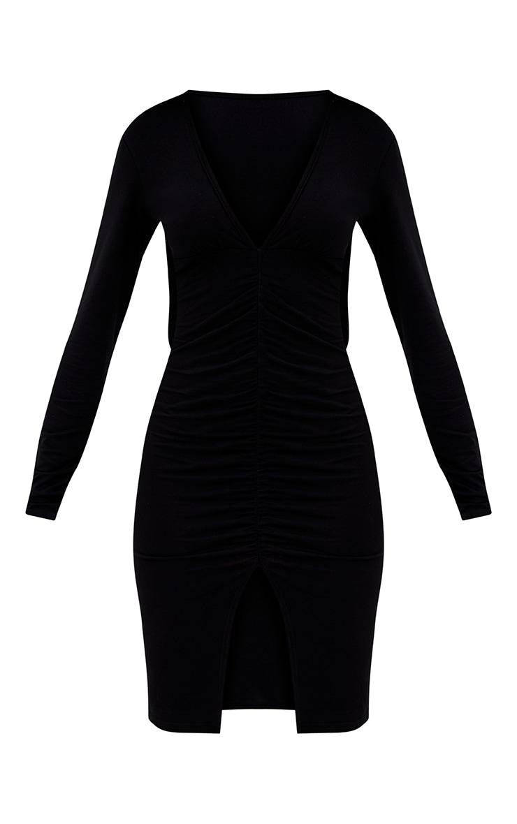 Petite Black Plunge Ruched Front Midi Dress 3