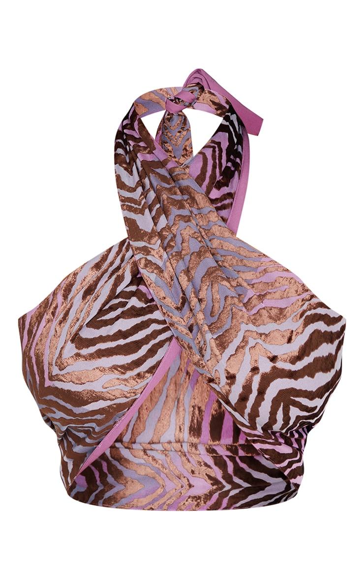Lilac Zebra Devore Underbust Halterneck Crop Top 5