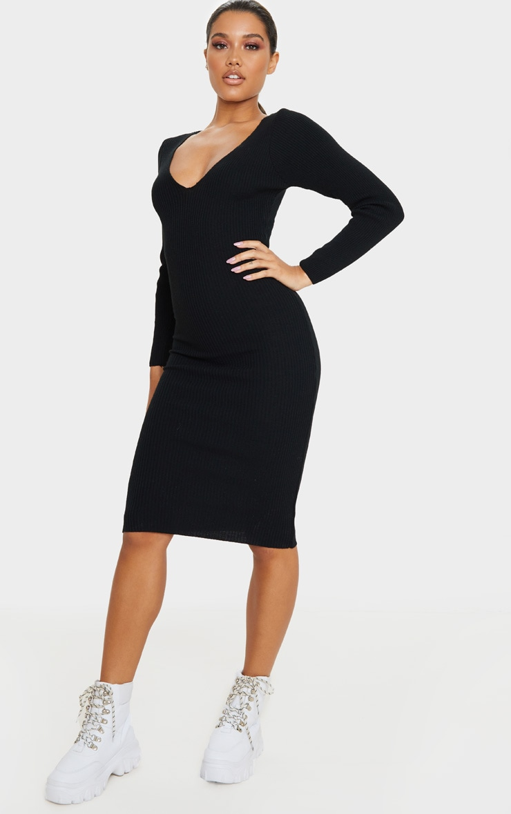 Black V Neck Knitted Midi Dress 4