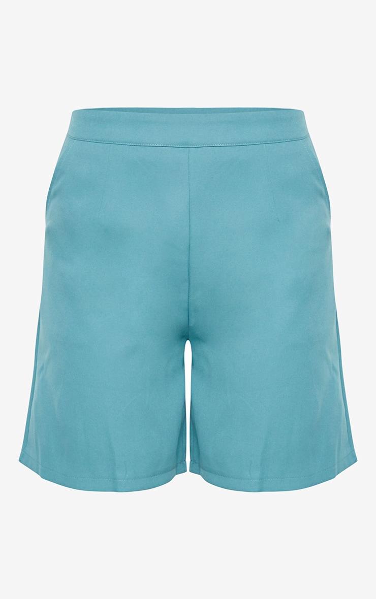 Sage Blue Woven Pocket Detail City Shorts 6