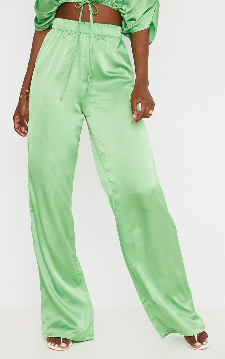 Tall Green Satin High Waisted Ruched Wide Leg Pants 2