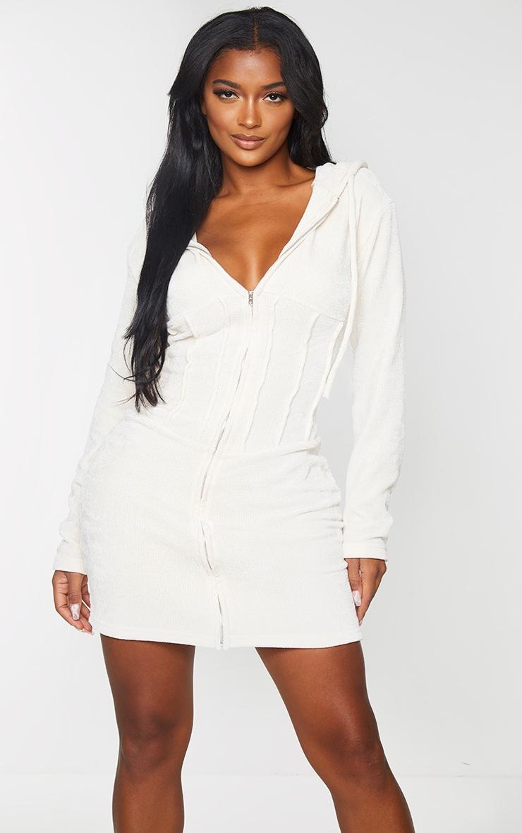 Shape Cream Rib Velour Corset Detail Hooded Bodycon Dress 1