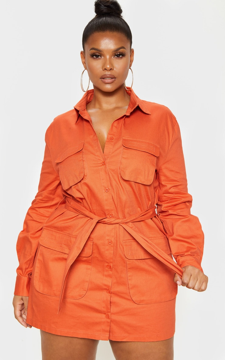 Plus Rust Utility Tie Waist Shift Dress 1