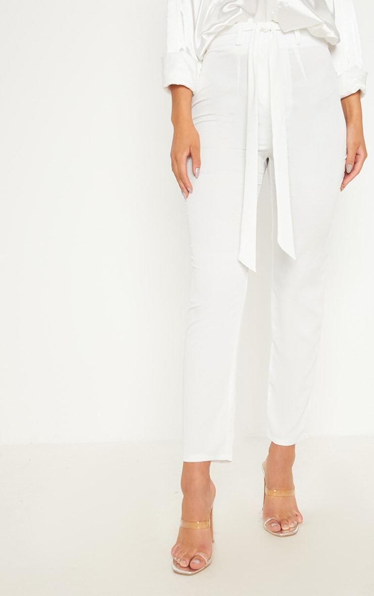 Ivory Satin Tie Waist Slim Leg Trouser 2