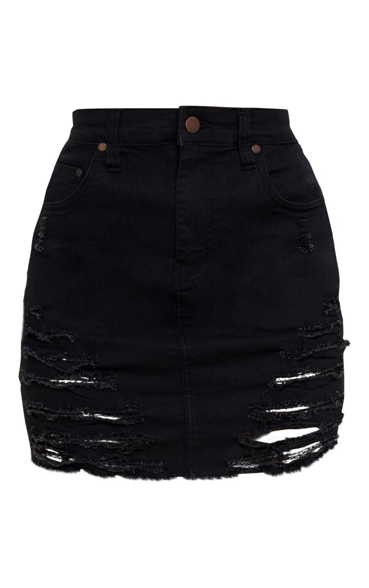 Petite Black Super Shred Denim Mini Skirt 3