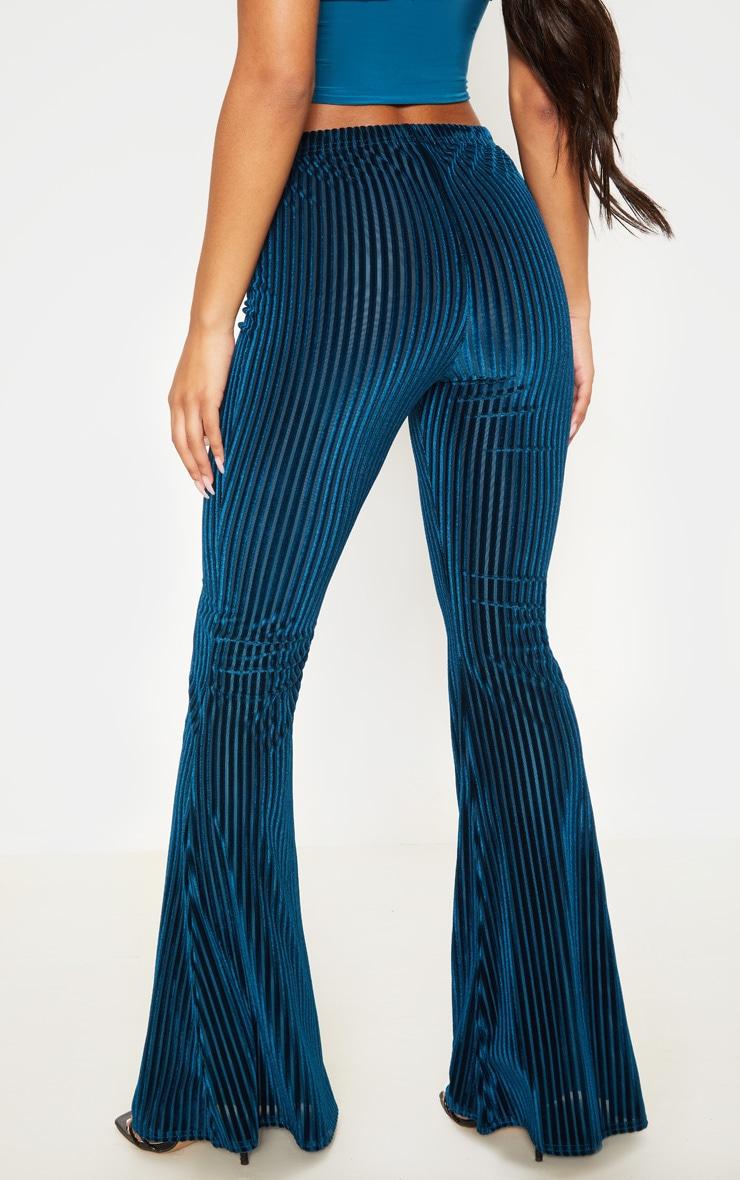 Teal Velvet Striped Flare Pants 4