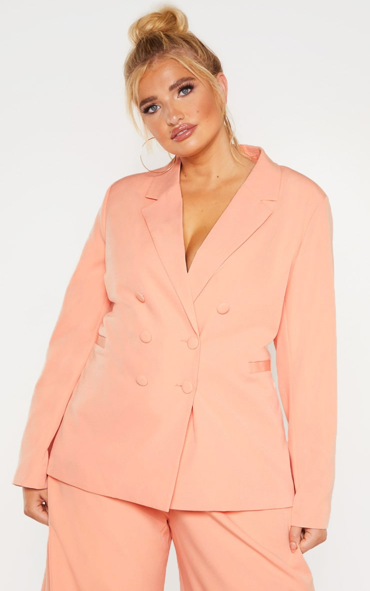 Plus Peach Oversized Blazer 1