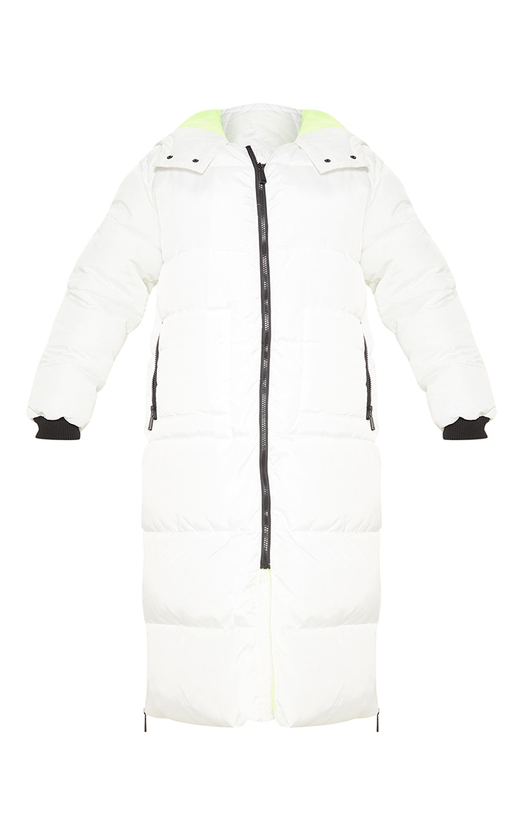 White Maxi Contrast Hooded Puffer 3