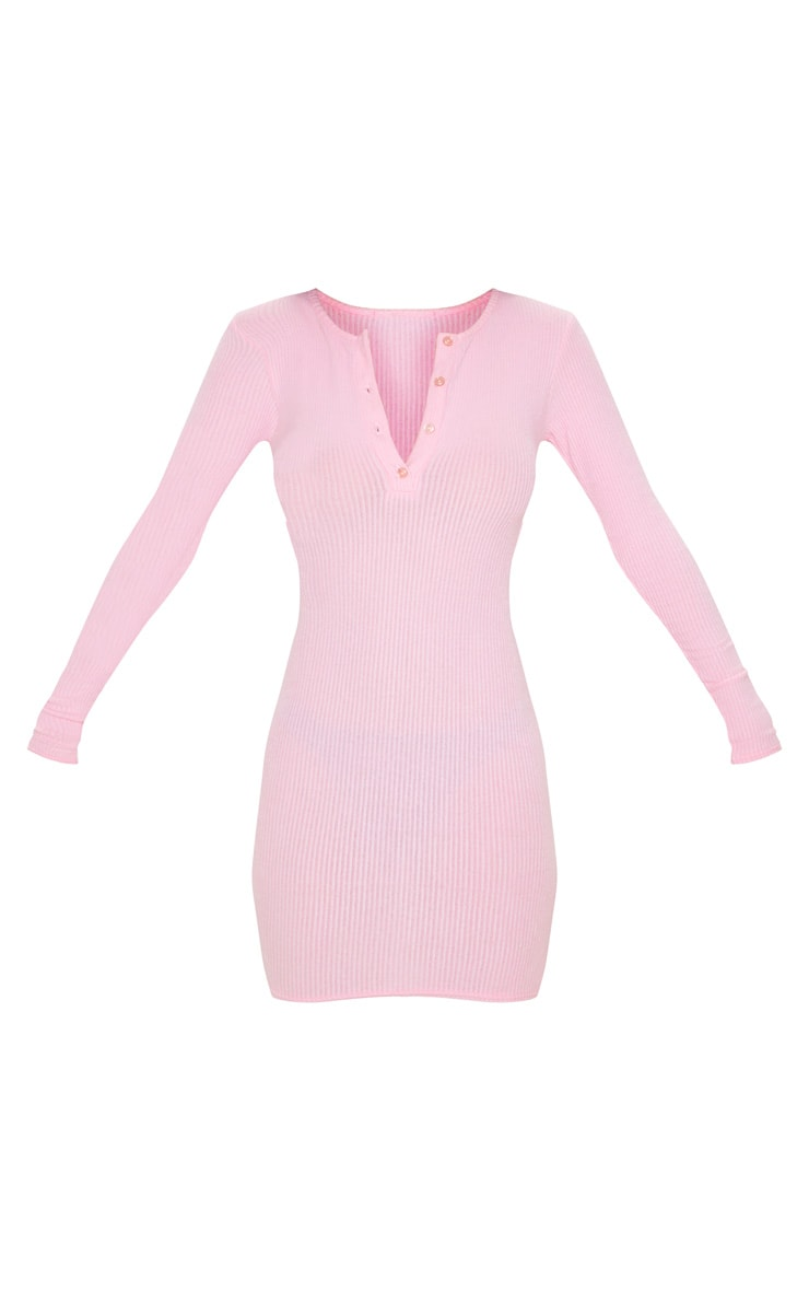 Pink Soft Rib Button Front Bodycon Dress 3