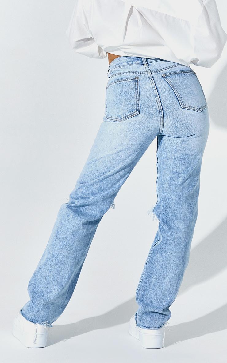 PRETTYLITTLETHING Petite Light Blue Wash Distressed Long Leg Straight Jean 3