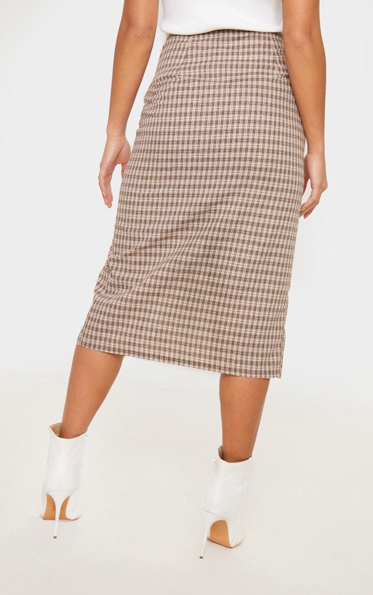 Petite Brown Checked Button Midi Skirt 4