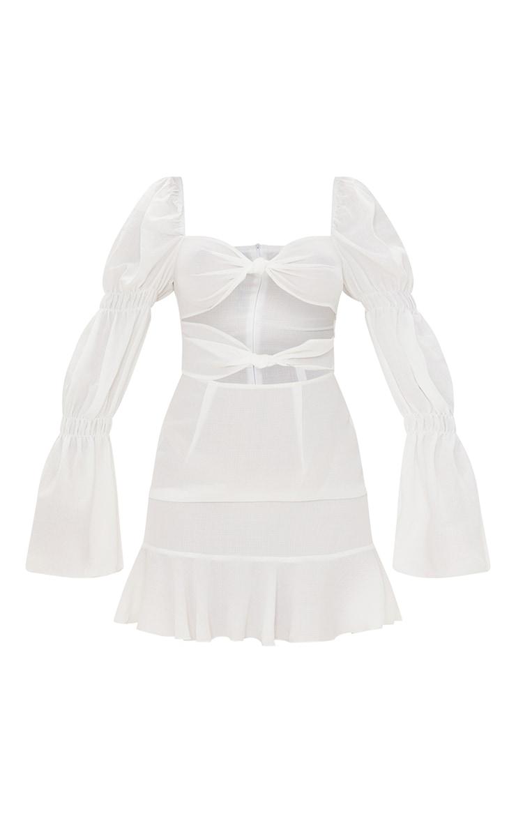 White Woven Long Sleeve Cut Out Frill Hem Bodycon Dress 5
