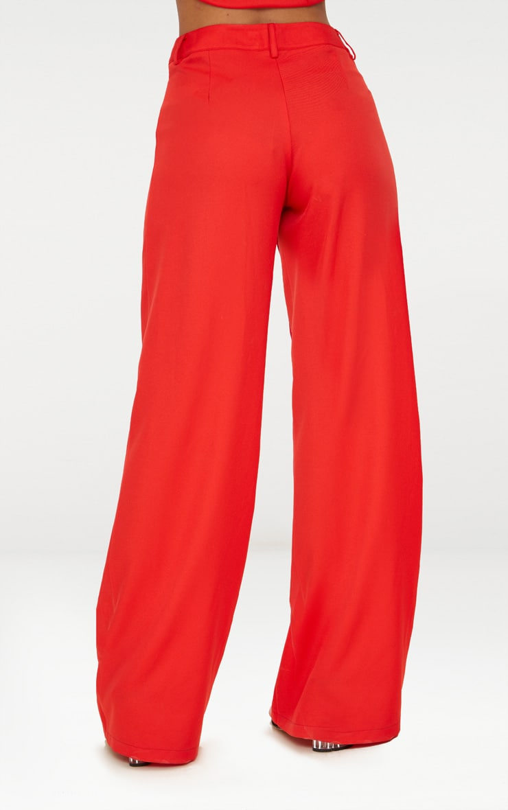 Petite Red Oversized Wide Leg Trousers 4