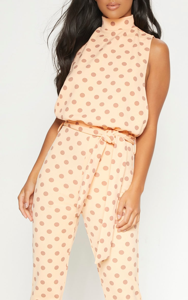 Petite Orange Polka Dot Scuba High Neck Tie Waist Jumpsuit 5