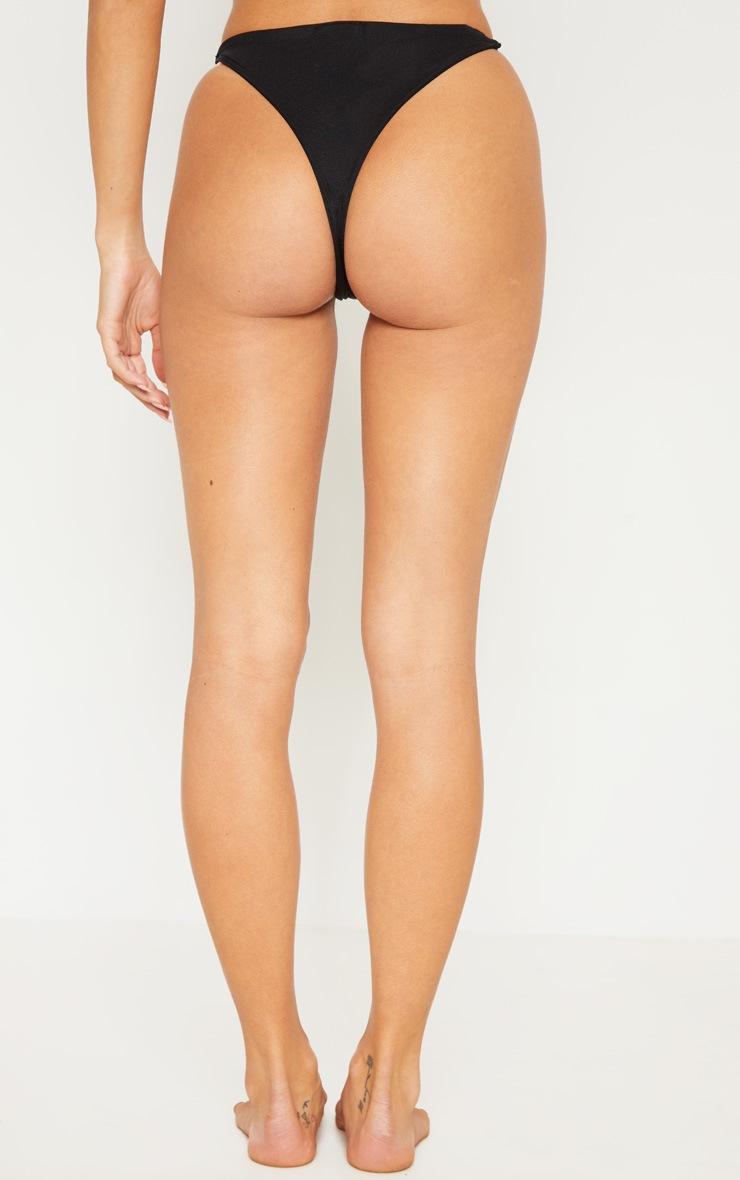Black Minimal Elastic Bikini Bottom 5