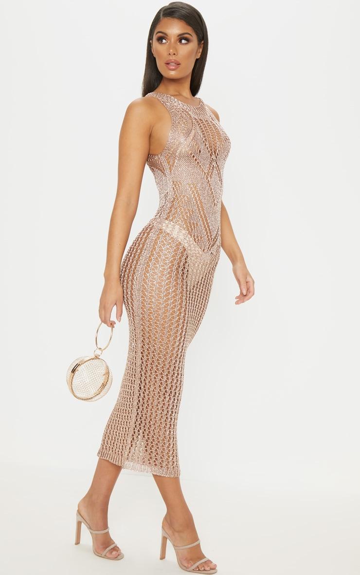 Rose Gold Metallic Knitted Chain Detail Sleeveless Midi Dress 4