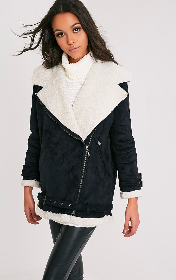 Simmi Black Faux Suede Oversized Aviator Jacket 4