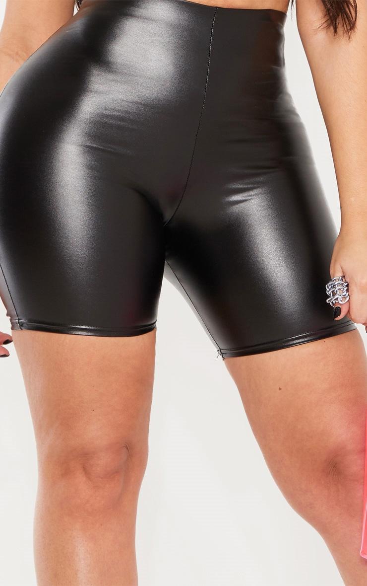 Shape Black High Waisted PU Bike Shorts 6