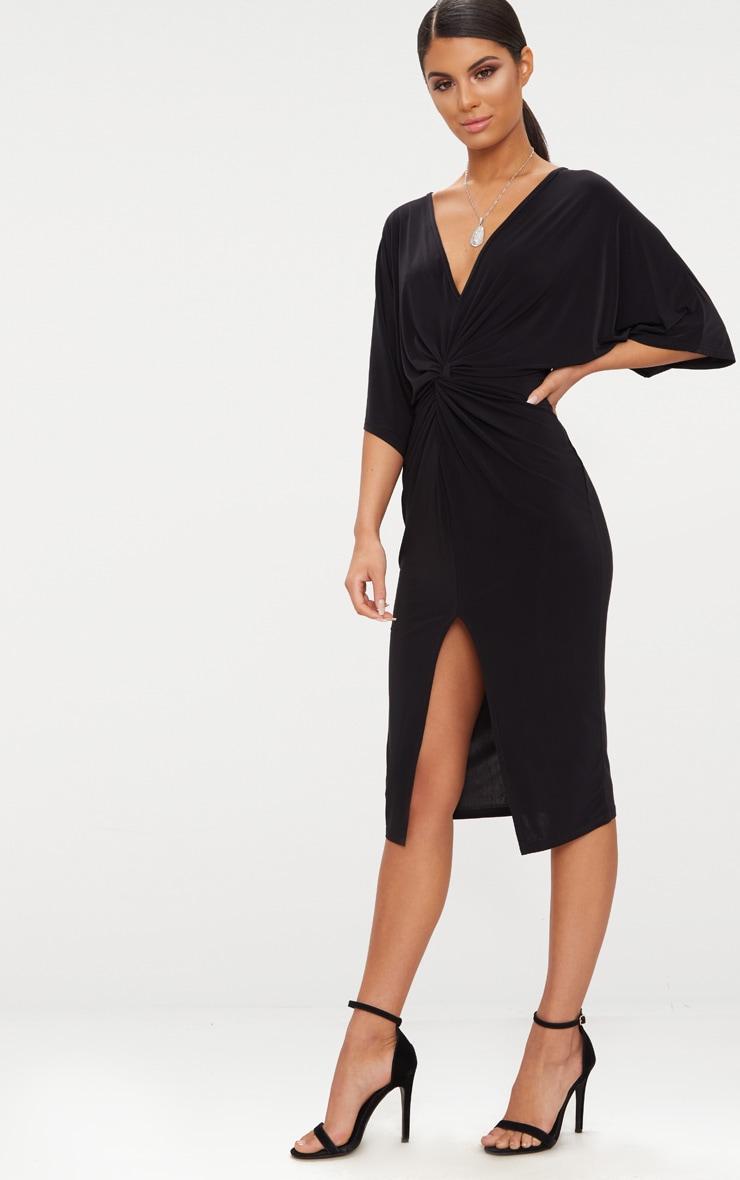 Black Slinky Batwing Twist Detail Midi Dress  4