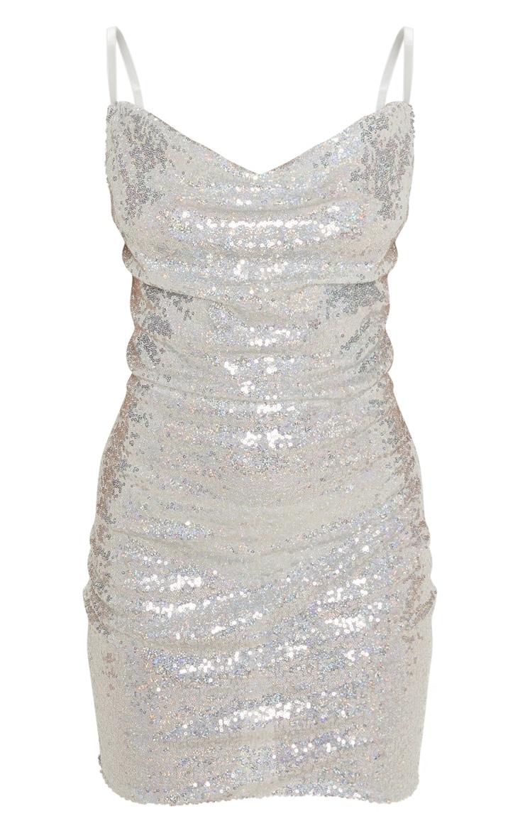 Petite Silver Sequin Cowl Neck Mini Dress 3